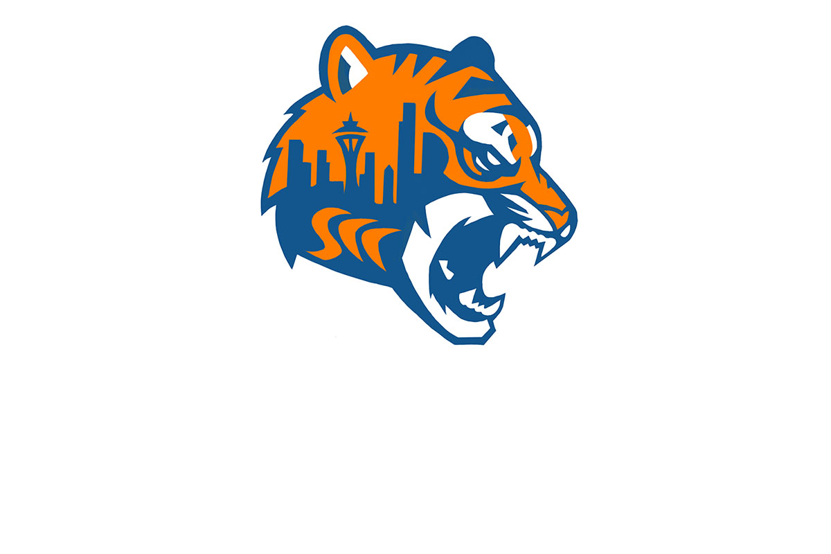 the image of the new mascot. an outline of a tiger with the seattle skyline embedded inside