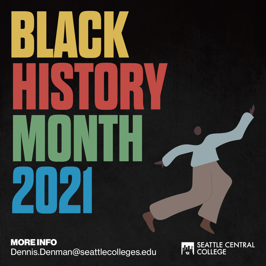 Black History Month graphic, with a figure dancing