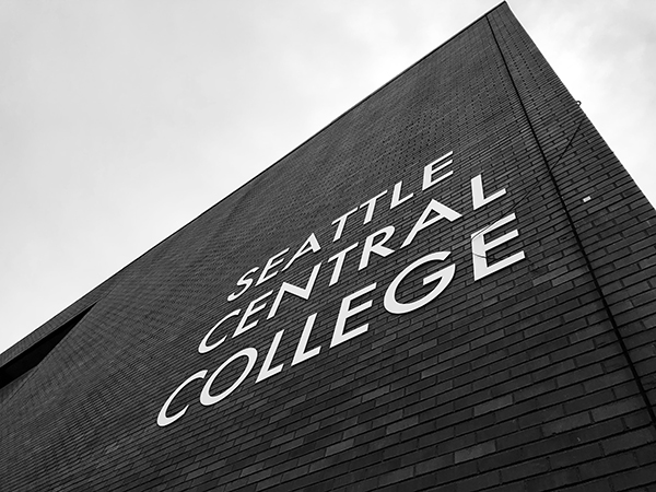 an image of the Seattle Central sign on the south wall of campus