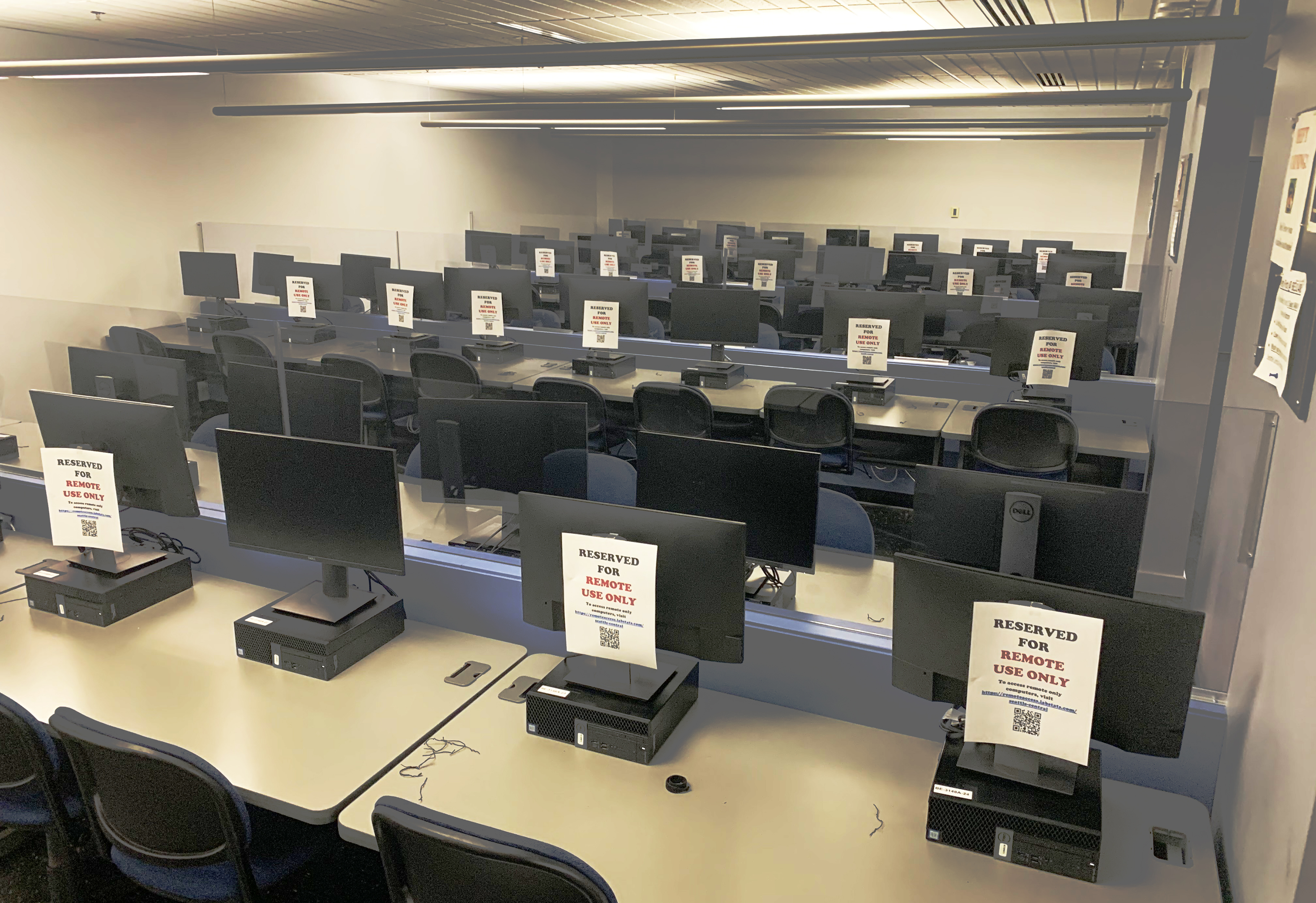A computer lab equipped with clear separations
